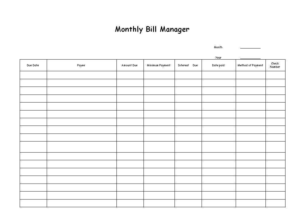 Bill Organizer. Bill Organizer Bill Organizer Template Bill ...