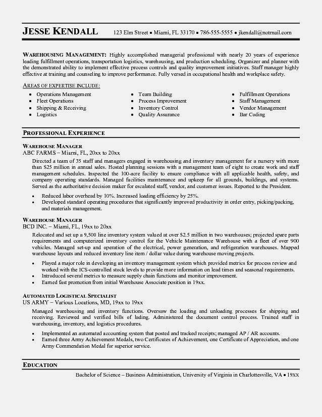 Warehouse Jobs Resume Templates - Contegri.com