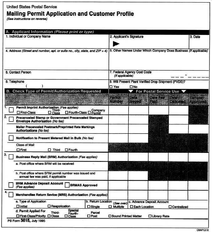 Figure 3-8.—Example of Mailing Permit Application and Customer ...