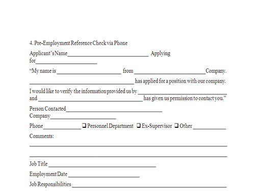 Reference Check Form. Noncomplete Employee Reference Check Form ...