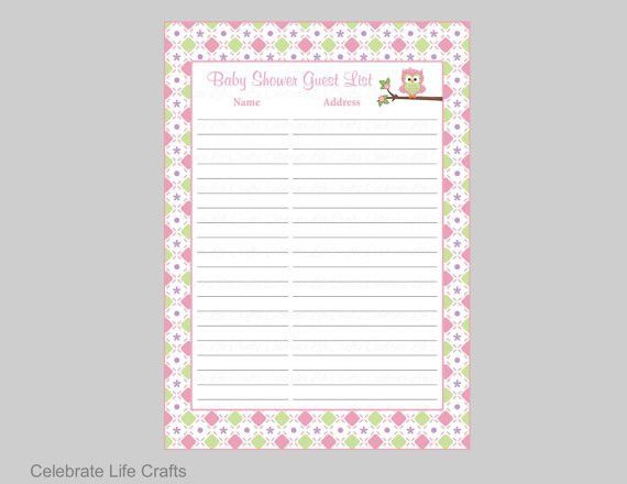 Owl Baby Shower Guest List Printable Sign in Sheet Address