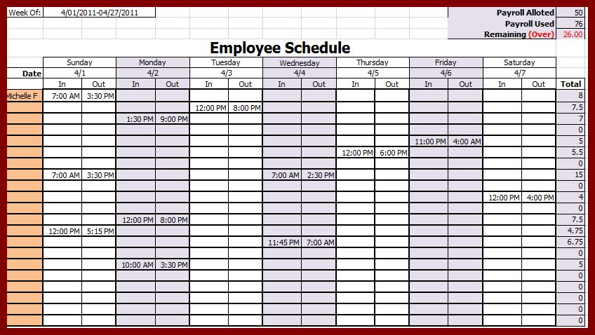 17 Excel Weekly Employee Schedule Template | sendletters.info