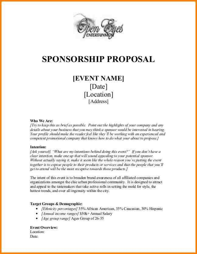 3+ event sponsorship proposal template | artist resume