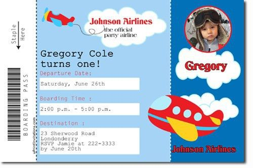 Airplane Birthday Invitations | badbrya.com