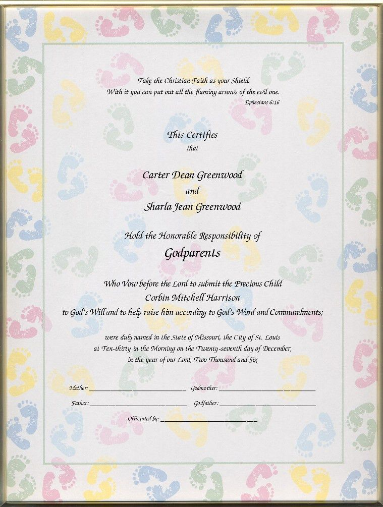 Christening Certificates for Godparents | ... certificates child ...