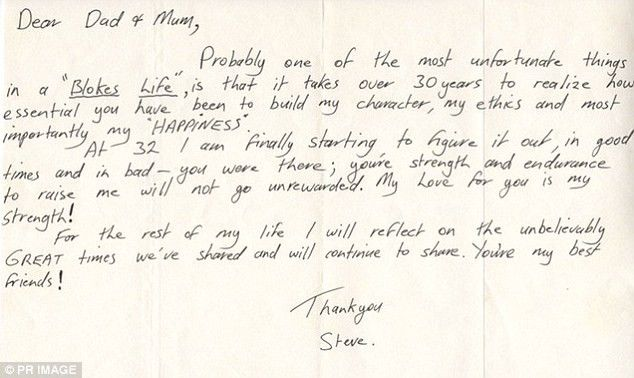 Steve Irwin's letter to his parents before his death | Daily Mail ...