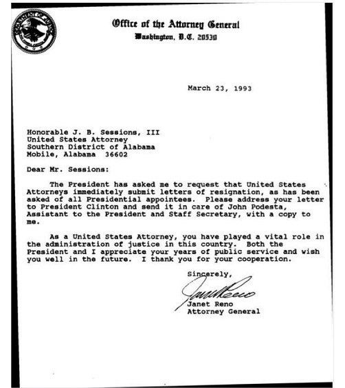 Clinton's Attorney General, Janet Reno's 1993 letter firing 93 ...