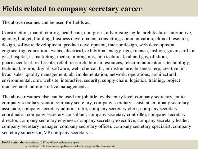 Top 5 company secretary cover letter samples