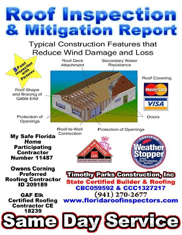 Roofing Inspection and Mitigation Report 941-270-2677 | Florida ...