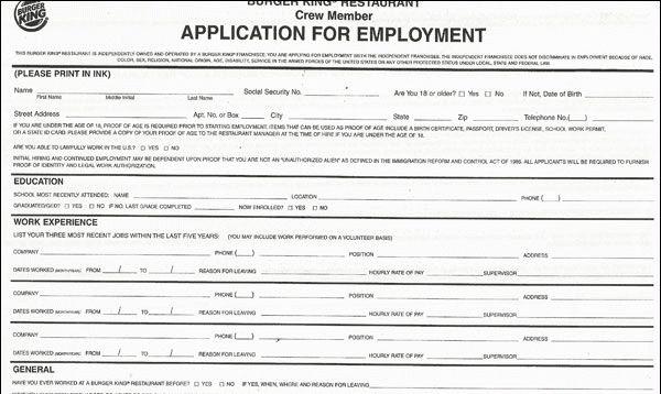 Burger King Application PDF Print Out