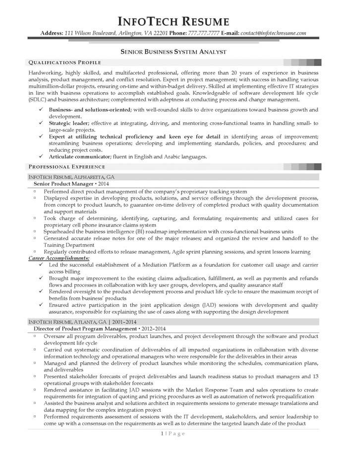 Sample Business Analysis. Senior Business Analyst Resume Free Pdf ...
