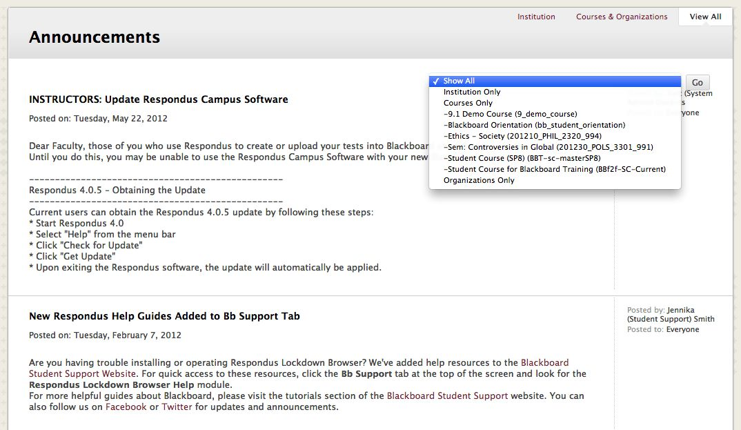 Blackboard Announcements - Blackboard Student Support