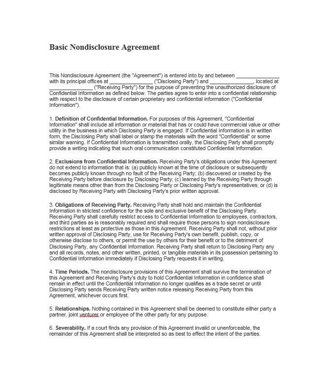 Superior Business Confidentiality Agreement Sample. Non Disclosure .