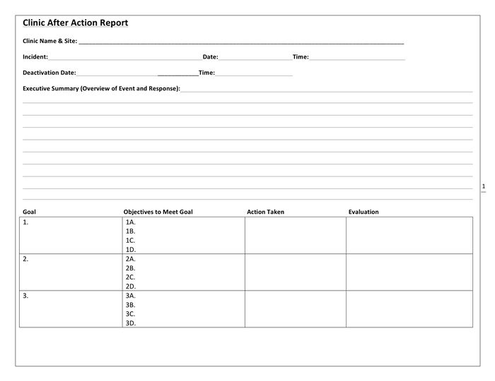 Clinic after action report template in Word and Pdf formats