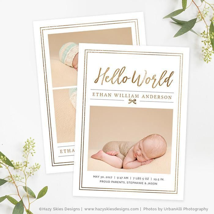Birth Announcement Template Photoshop Printable Photo Card Girl ...