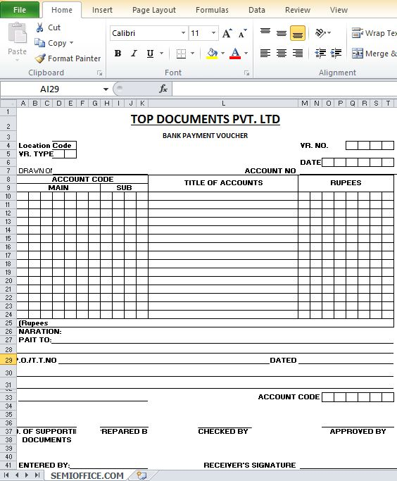 Sample Bank Payment Voucher Format in Excel