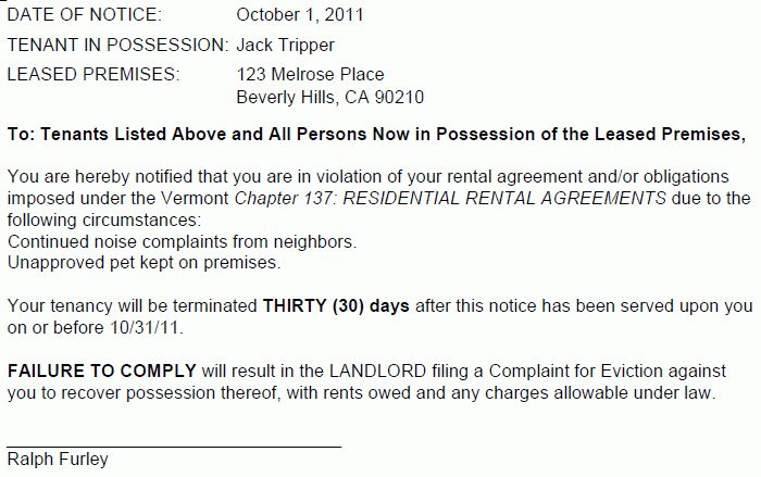 Vermont 30 Day Termination of Tenancy (Breach of Lease)
