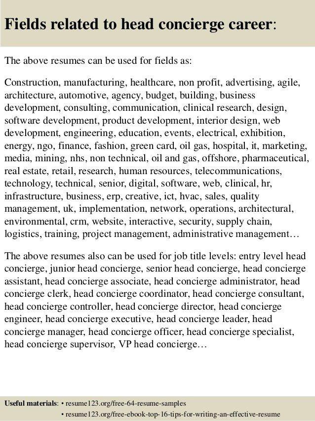 Top 8 head concierge resume samples