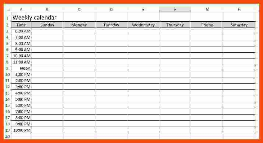 weekly calendar template | program format