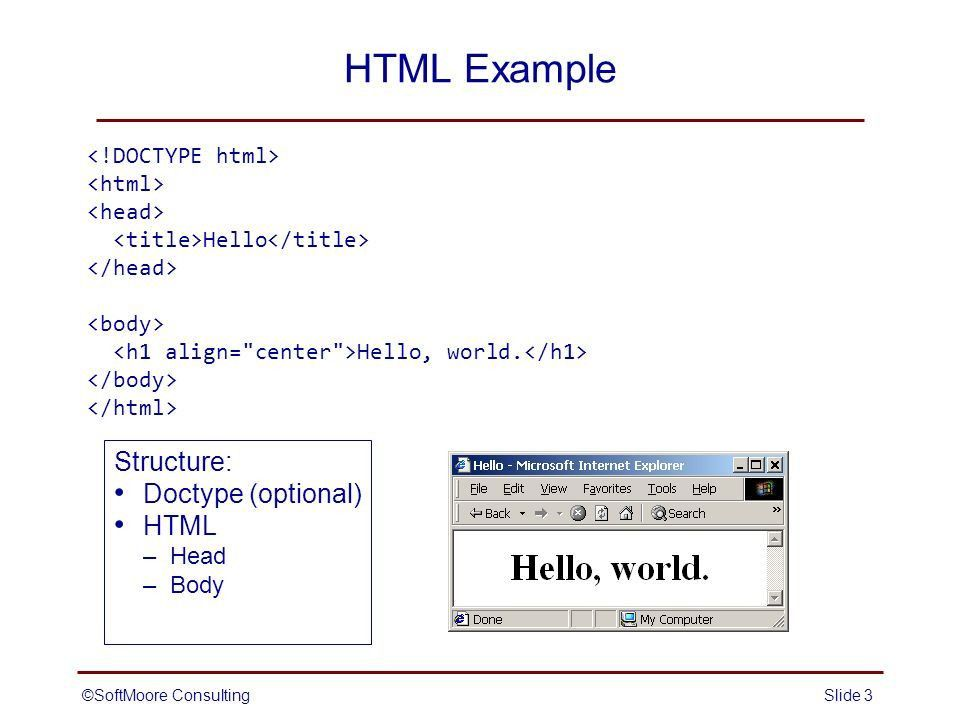 SoftMoore ConsultingSlide 1 Introduction to HTML: Basic Document ...