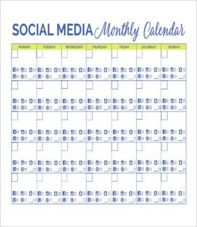 8+ Social Media Calendar Templates – Free Sample, Example Format ...