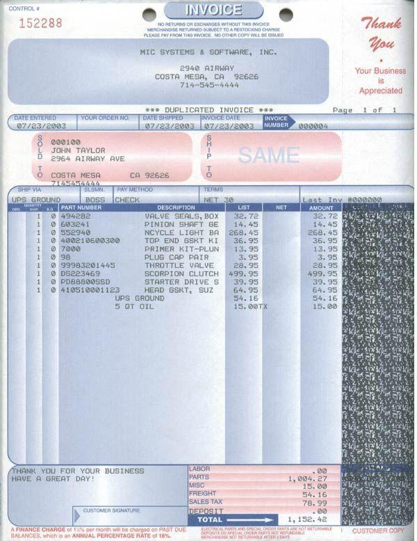 Auto Parts Invoice Sample