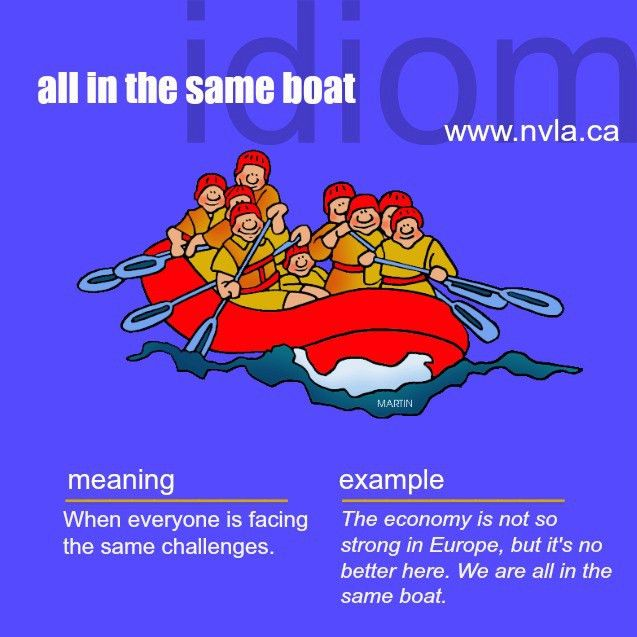 All in the same boat. #idiom | English as a Second Language ESL ...