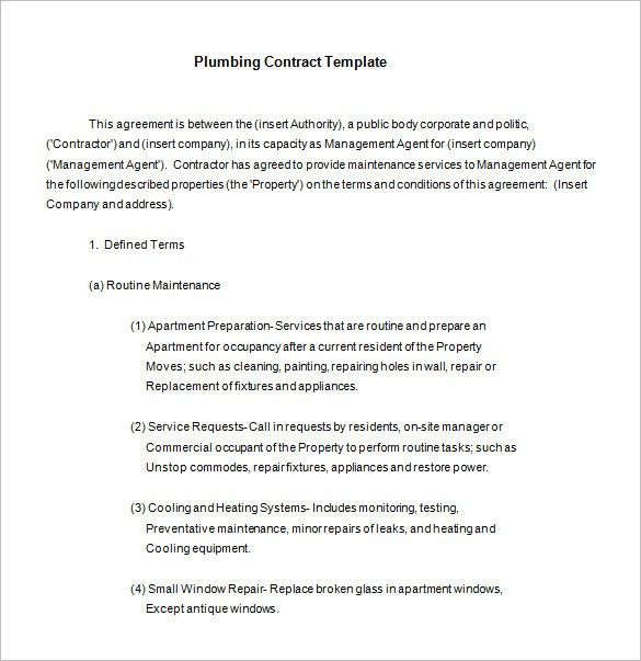5+ Plumbing Contract Templates – Free Word, PDF Format Download ...