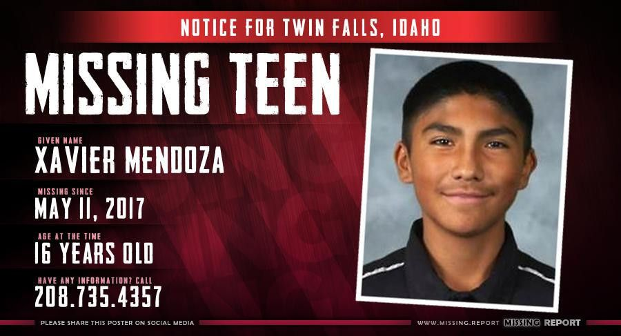 MISSING PERSON • Xavier Mendoza • Twin Falls, Idaho • 16 Years Old