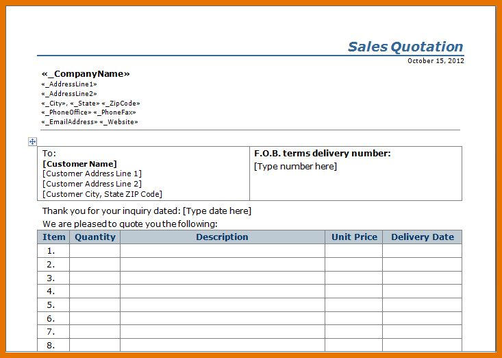 5+ sales quote template | Itinerary Template Sample