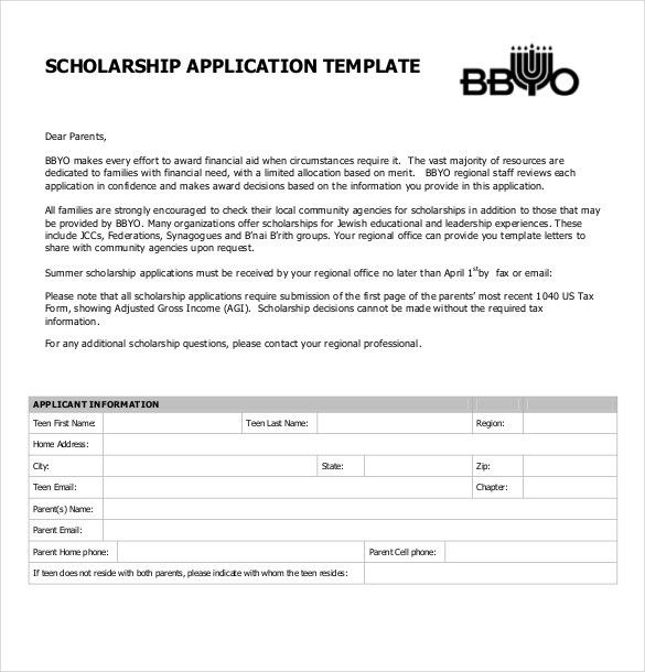 Scholarship Application Template – 10+ Free Word, PDF Documents ...