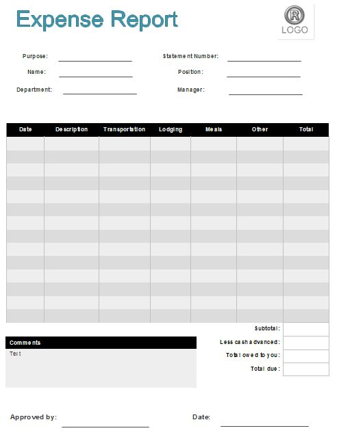 Monthly Expense Report Template : Blank Expense Report. Basic ...