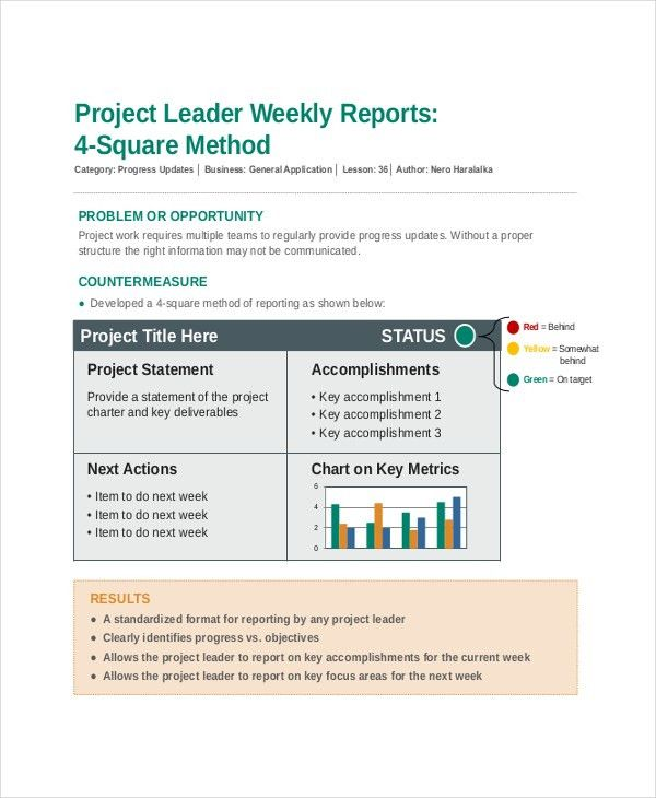 8+ Project Update Templates - Free Sample , Example , Format ...