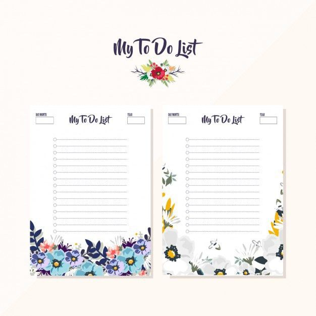 Floral to do list designs Vector | Free Download
