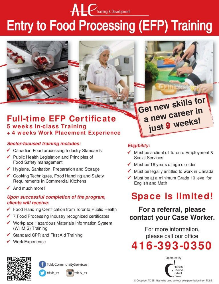Entry To Food Processing Training Flyer