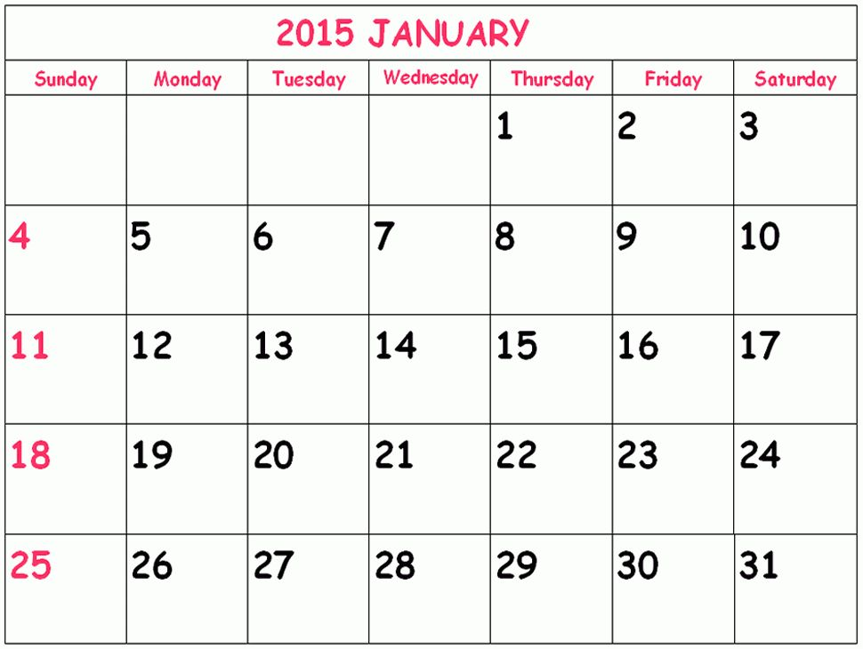Printable January 2015 Calendar | Calendar 2015 | Pinterest ...