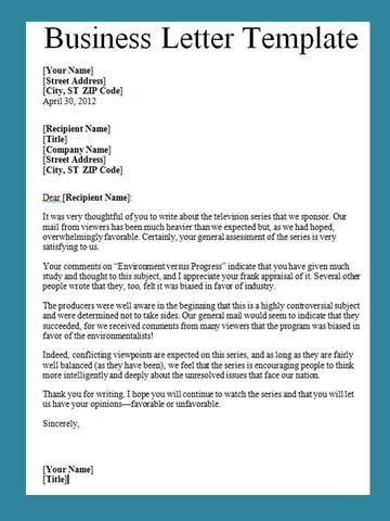 Get Business Letter Template Word | Projectemplates