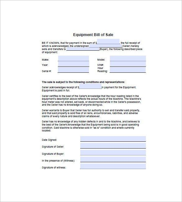 Equipment Bill of Sale – 8+ Free Sample, Example, Format Download ...