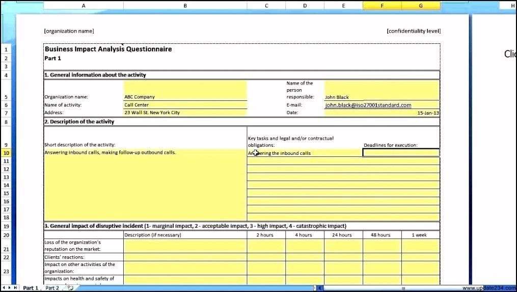 Business Impact Analysis Template - Template Update234.com ...