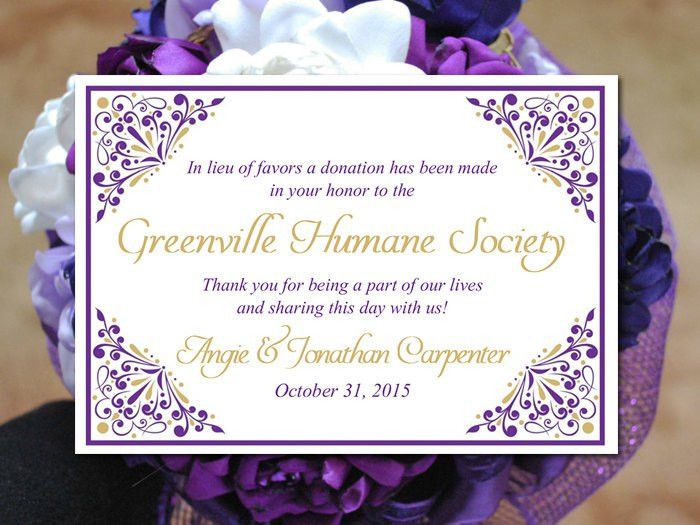 Wedding Favor Donation Card Template - Grape Gold Wedding Charity ...