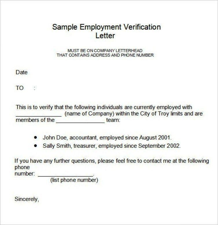 Simple Employment Verification Letter Form | TemplateZet