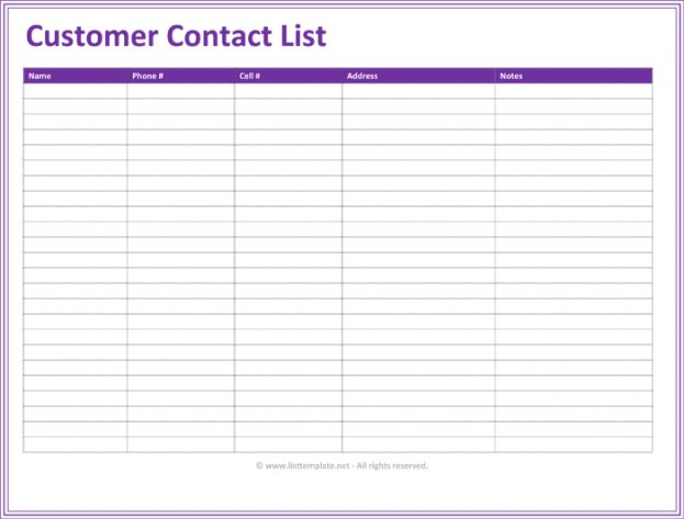 Contacts Template Excel