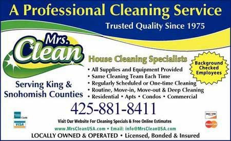 About Us, Bellevue, Seattle, Redmond House Cleaning | Mrs Clean