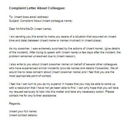 Complaint Letter About Coworker Sample | Just Letter Templates
