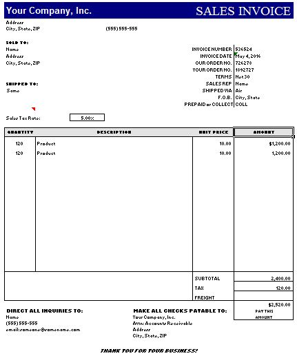 21+ Free Sales Invoice Template - Word Excel Formats