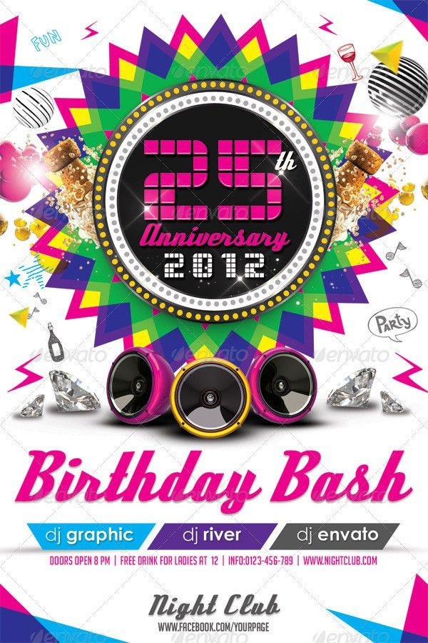 Colorful Birthday Invitation Flyer Template by hermz | GraphicRiver