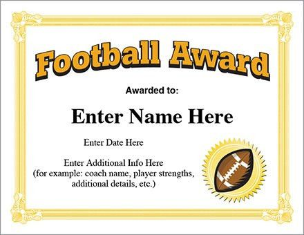 Football Award Certificate Template - Recognition