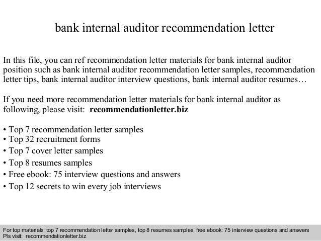 Bank internal auditor recommendation letter