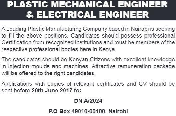 2017 Kenya Plastic Mechanical & Electrical Engineer Jobs - JobSpot ...