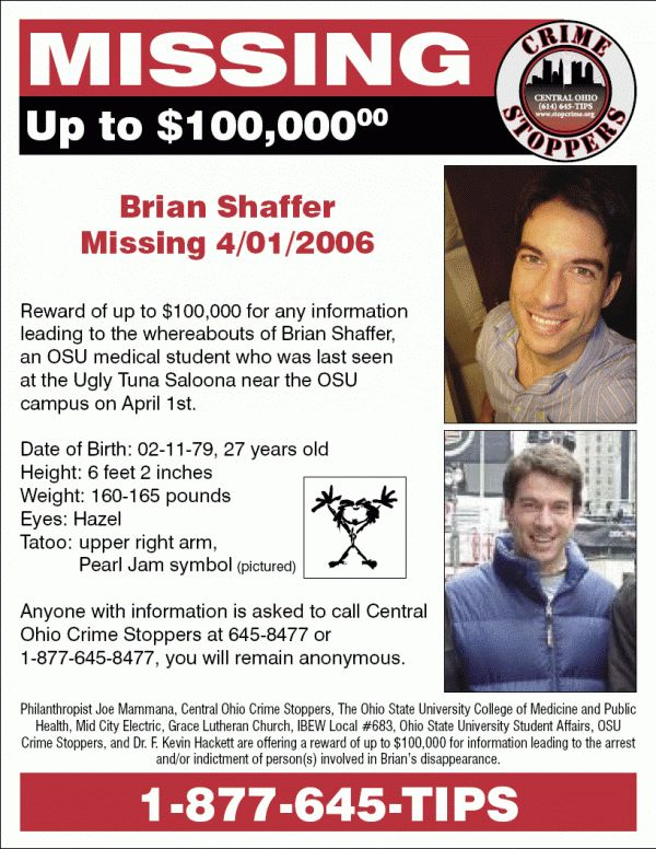 Killing Killers: Brian Shaffer Missing Persons Reward Now $100,000